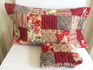 2 PILLOW SHAMS King Quilted Thick Floral Striped Cottage Country Patchwork Red