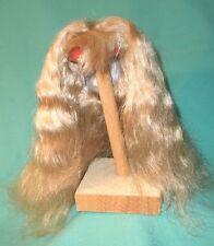 """Peluca de muñeca/pelo humano cabello largo rubio 12.5"""" a 13.5"""", Perm, flecos Tejido A Mano"""