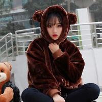 Japanese Sweet Lolita Winter Thicken Kawaii Bear Plush Loose Hoodie Jacket Coat