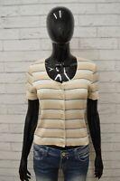 Maglia BENETTON Donna Taglia S Maglietta Shirt Cardigan Blusa Manica Corta Slim