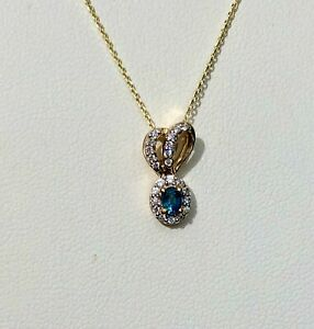 Natural Sapphire Pendant & Chain 9k Yellow Gold'CERTIFIED SI' Beautiful Necklace