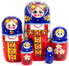"Nesting Dolls 5 pcs 7"" Russian Doll Matryoshka Hand Painted Russia"