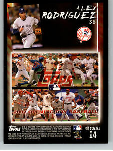 2007 Topps Opening Day Puzzle #P14 Alex Rodriguez - New York Yankees
