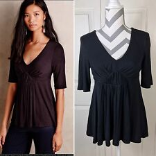 Deletta Anthropologie Solid Black Pleated Empire Tee w/ 3/4 Sleeve, Size S NWOT