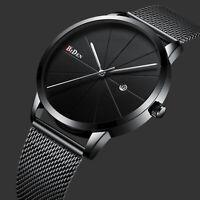 Men's Quartz Wrist Watch All Black Date Display Stainless Steel Fashion Simple