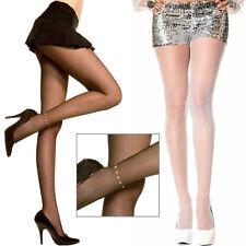 Sheer Pantyhose Stockings Shiny Faux Rhinestone Ankle Hoisery Design OS 1-4 Set