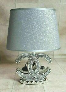 NEW CRUSHED DIAMOND SILVER LED TABLE LAMP WITH GLITTER SHADE romany sparkly