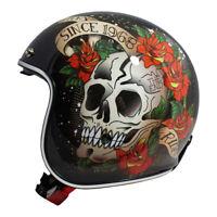MT Le Mans 2 SV Skull & Roses RED Open Face Jet Motorcycle Scooter Crash Helmet