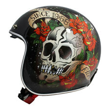 MT Le Mans 2 SV Skull & Roses RED Open Face Motorcycle Scooter Crash Helmet