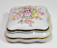 """Vintage LIMOGES China France Hand Painted Pink FLOWERS 4"""" Square Trinket Box"""