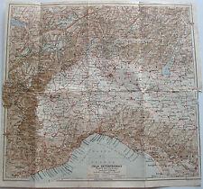 stampa antica MAPPA CARTA TOPOGRAFICA nord Italia settentrionale Milano  1900