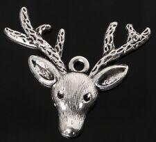 Antique Silver Stag Head Charm Deer Elk Moose UK Seller for Necklace Bracelet UK