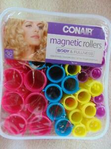 36 Conair Magnetic Rollers Curlers Body & Fullness  Multiple Sizes+ Case New