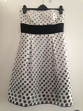 Women's Monsoon Bandeau Strapless Polka Dot Prom Dress Sz 12