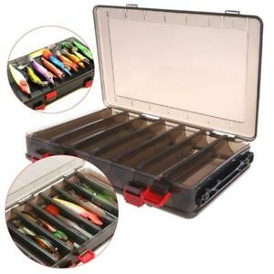 Fishing Box Bait Lure Hook Storage Double Side V Shaped Tackle 14 Compartments