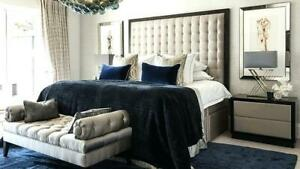 """44"""" inch Tall kings cubed  daimond CRUSHED VELVET Headboard with BLACK Bumper"""