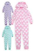 Girls 1Onesie1 Pyjama Heart Print Micro Fleece All In One Nightwear 2 - 13 Years