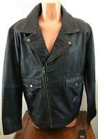 FRYE Mens Motorcycle Jacket Vintage Black Size XL 100% Leather Biker Coat