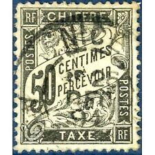 FRANCE TAXE N°20 TYPE DUVAL 50C NOIR 1881-1892 TIMBRE OBLITERE