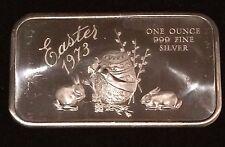 EASTER 1973 RABBIT EGG    999 SILVER BAR 1 OZ ART VINTAGE     N14