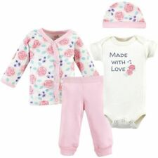 Touched By Nature Girl Organic Preemie Layette Set, 4-Piece Set, Pink Rose
