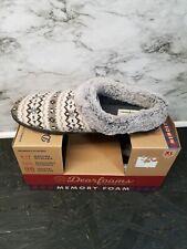 Women Dearfoams Gray Clog Slippers Memory Foam Small XL 11/12 New
