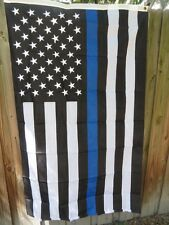 EMBROIDERED 3X5 LAW ENFORCEMENT POLICE MEMORIAL FLAG USA BLUE LINE BLACK WHITE