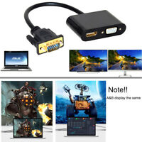 2-in-1 VGA to HDMI VGA Splitter Cable Adapter Converter Audio for PC Laptop TV