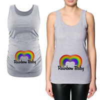 Women Pregnancy Maternity Rainbow Print Blouse Vest Tank Sleeveless Tops T Shirt