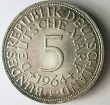 1964 F GERMANY 5 MARKS - AU - High Quality Silver Coin - Lot #Y2