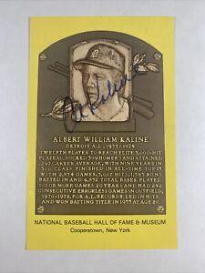 Al Kaline Autographed Hall of Fame Plaque Postcard HOF Detroit Tigers