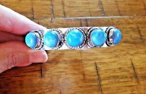 """LARIMAR Gemstone 5 stones 925 STERLING SILVER BRACELET CUFF Bangle adjust 7-8 """""""