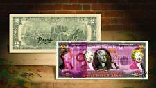 MARILYN MONROE Gray Pink Color Pop Art $2 Bill Signed by the Artist Rency #/70