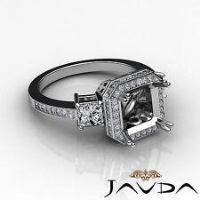 Princess Diamond 3 Stone Engagement Filigree Ring 14k White Gold Semi Mount 1Ct