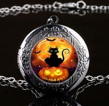 Black Cat Locket Pendant Necklace