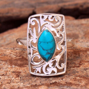 Turquoise cab Gemstone 925 sterling Silver Jewelry Designer Ring Size US 8