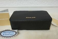 NWT MICHAEL KORS MERCER Large Double Zip Travel Pouch BLACK Pebbled Leather $98