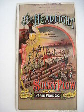 """Fanciful Trade Card for """"The Headlight Three Wheel Sulky Plow"""" w/ Brownies *"""