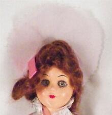 "Vintage Hard Plastic Bridesmaid Doll Brown Hair Blue Eyes Lilac & Pink Gown 11"""