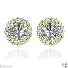 White VVS1 Diamond Halo Solitaire Stud Bridal Earrings Jacket 14K Solid Gold