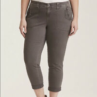 Torrid Twill Military Cropped Pants Light Grey Size 12