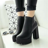 Winter Ladies Platform Ankle Boots High Heel  Chunky Leather Shoes Zipper Black