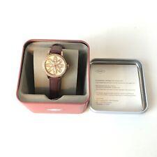 🔥 Fossil Women's BQ7009 Dinah Three Hand Rose Gold Glitz Flower Face Watch New
