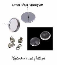 20 x 304 Surgical Steel Earrings 14mm Bezels Clutch & Glass Dome DIY KIT