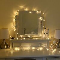 100 Warm White LED Indoor Bedroom Fairy Lights On 8m Clear Cable 240v mains NEW