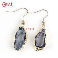 Diamond Cut Genuine Druzy Agate Crystal Geode Gold Plated Dangle Hook Earrings