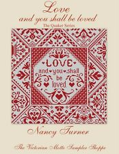 QUAKER motto sampler LOVE and you shall be loved, counted cross stitch chart