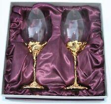 Brand New Pewter Ornate Celtic Wine Goblet Glass 12 OZ Set Golden Dragon Phoenix