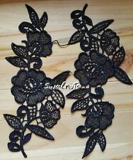 2pcs Black Flowers & Leaves Lace Trim Embroidered Applique Patch Motif Sew on
