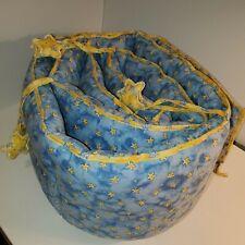 Blue & Yellow Star Starry Night Crib Bumper with Hanging Stars